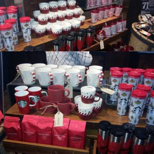 Christmas goodies at the Starbucks in Rosebank